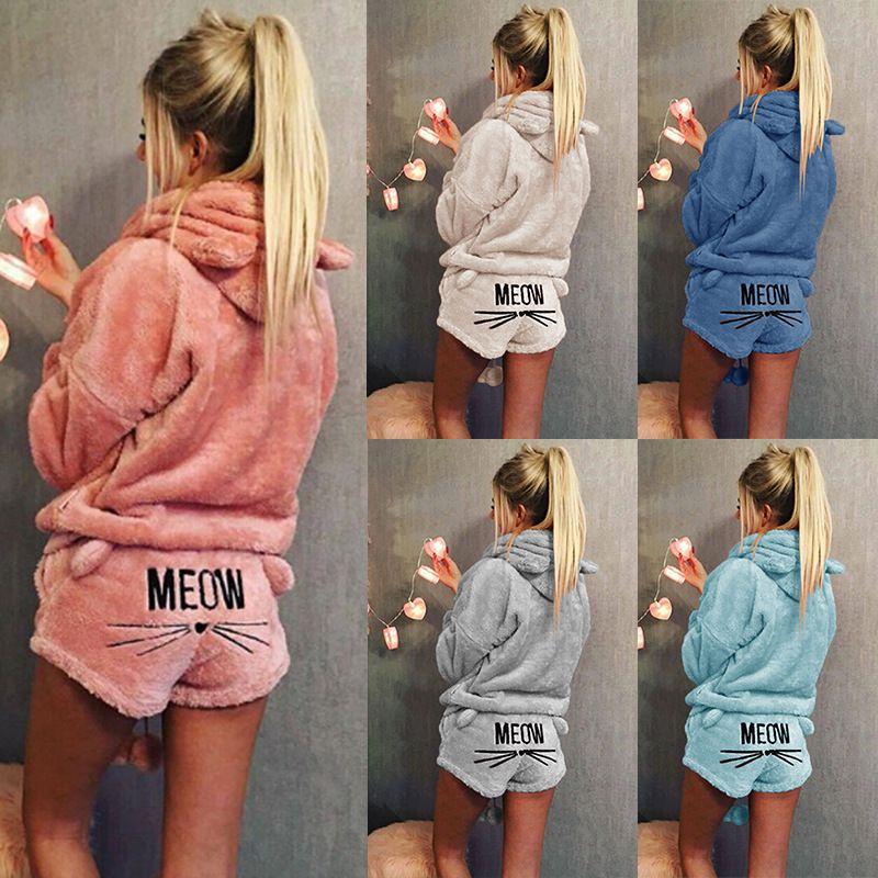 Femmes Velours Corail Costume Deux Pièces Automne Hiver Pyjamas Chauds vêtements de Nuit Mignon Chat Meow Motif Hoodies Shorts Set 2018 Nouveau