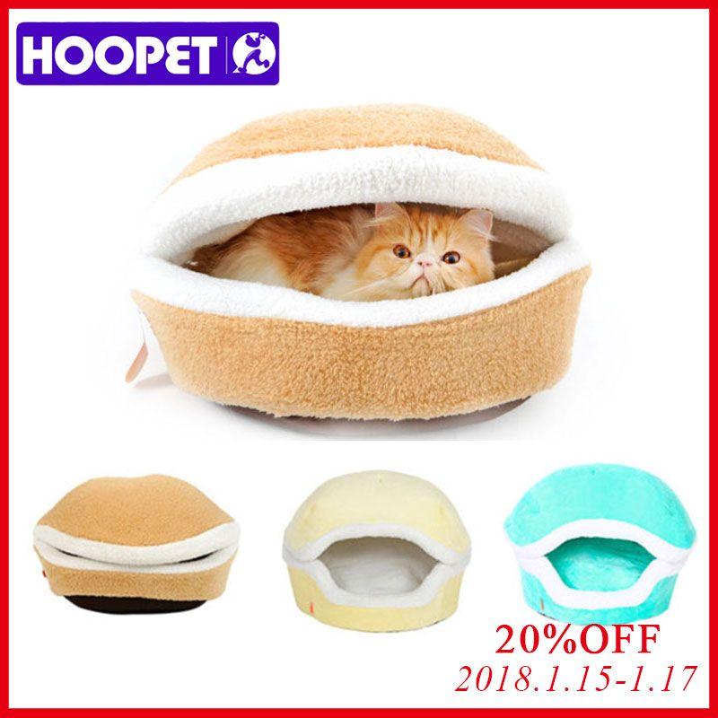 HOOPET теплая кошка кровать Дом гамбургер кровать disassemblability ветрозащитный Pet Puppy Гнездо Корпуса скрывая бургер булочка для зимы