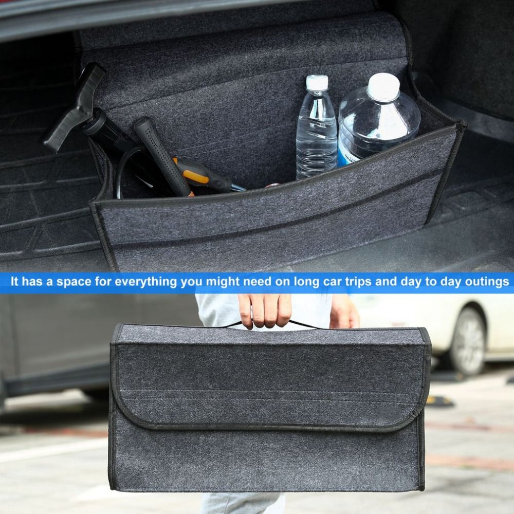 Storage Organizer Large Capacity Non-woven Fabrics Material Folding Flat With A Cover Closure For Car Van Truck