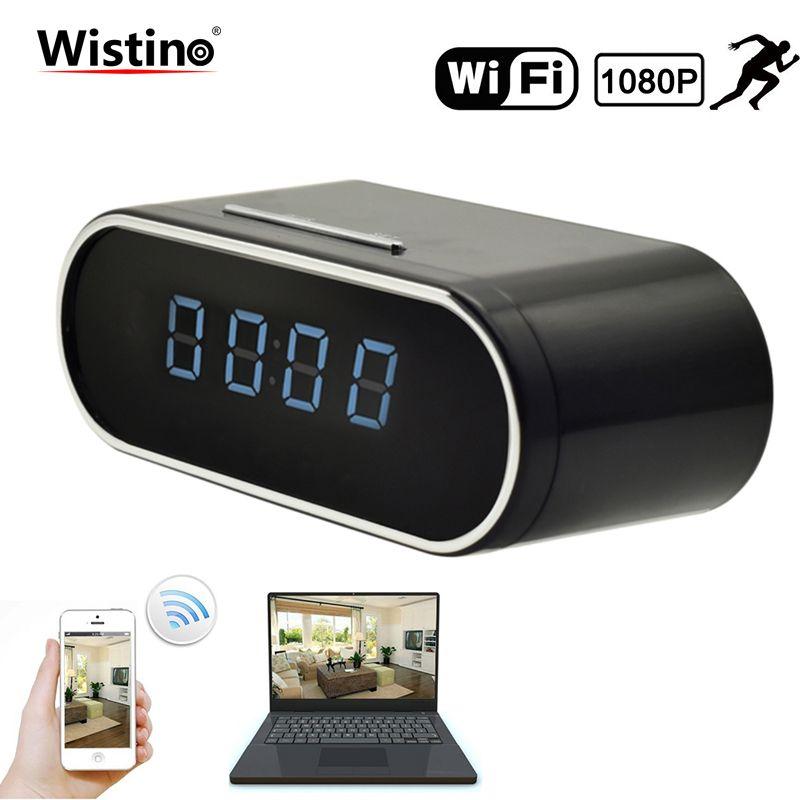 Wistino 1080P WIFI Camera Nanny Camera Black P2P IP Security Clock IOS Android Motion Detection Home Security Wireless Camera
