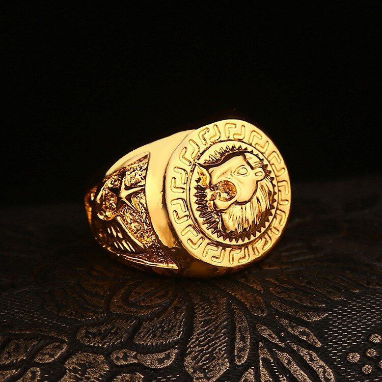 Fashion New Celebrity Style Yellow Gold Filled Lion Head Male Ring Hip Hop Dance Punk Rock Bling Men Ring (Size:US 7-11)