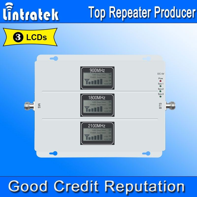 Lintratek 2G 3G 4G AGC Signal Repeater 900MHz UMTS 2100MHz LTE 1800MHz Tri Band LCDs Cell Phone Signal Booster Amplifier NEW *