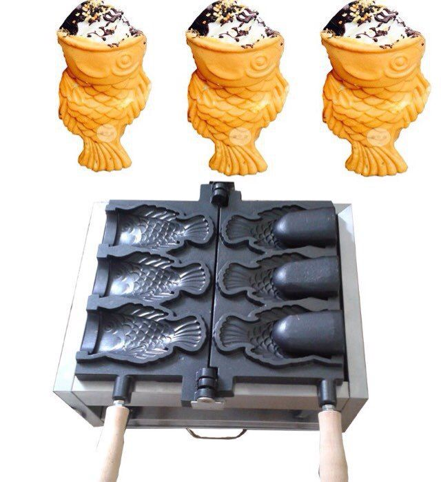 FY-1103B 110 V 220 V commercial électrique crème glacée taiyaki fabricant, 3 pièces bouche ouverte coréen crème glacée poisson gaufrier machine