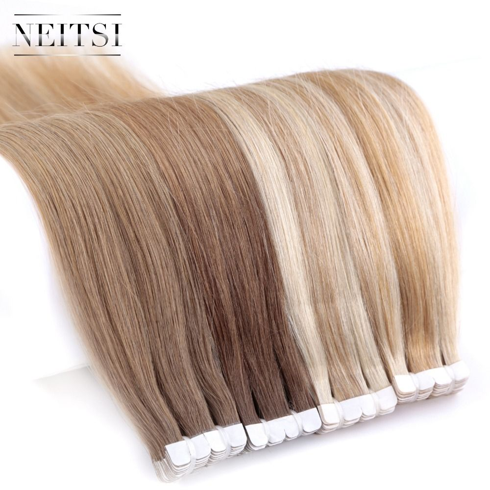 Neitsi Mini Tape In None Remy Human Hair Adhesive Extension 16