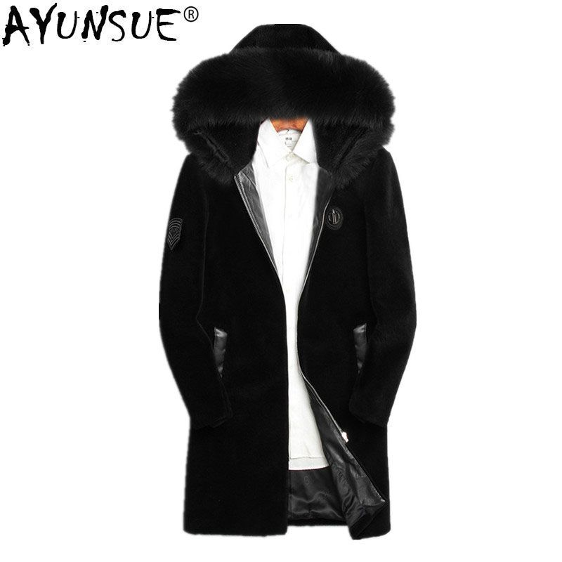 AYUNSUE 2018 Winter Jacket Men Real Sheep Shearing Fur Coat Real Fox Fur Collar Jackets Mens Natural Wool Fur Coats MY730
