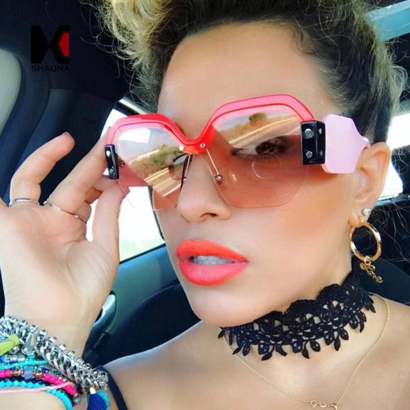 SHAUNA Fashion Half Frame Women Square Sunglasses Vintage Men Blue Integrated Tinted Lens Shades UV400