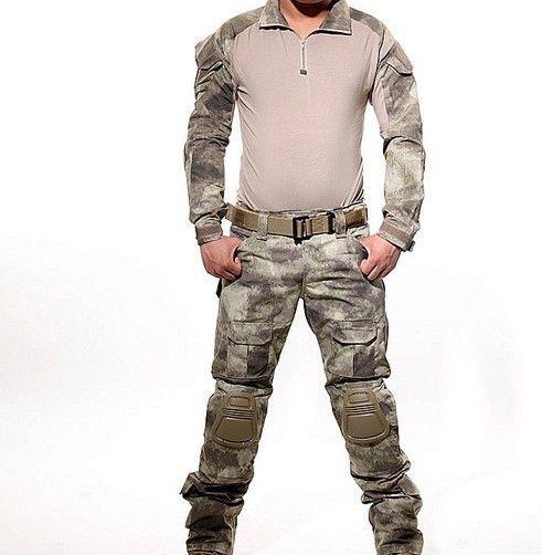 Eine A-TACS Taktischer Kampf Uniform Gen3 Shirt + Pants Militärarmee hosen mit Knieschützer Größe S-XXL ACU MULTICAM WOODLAND DIGI CAMO