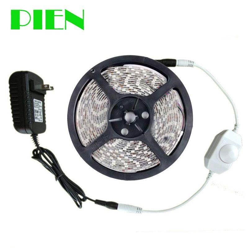 12 v LED Bande 5 m Dimmable 300 Led tira 2835smd Étanche Intérieur Extérieur décor Kit + led dimmer + puissance adaptateur Livraison gratuite