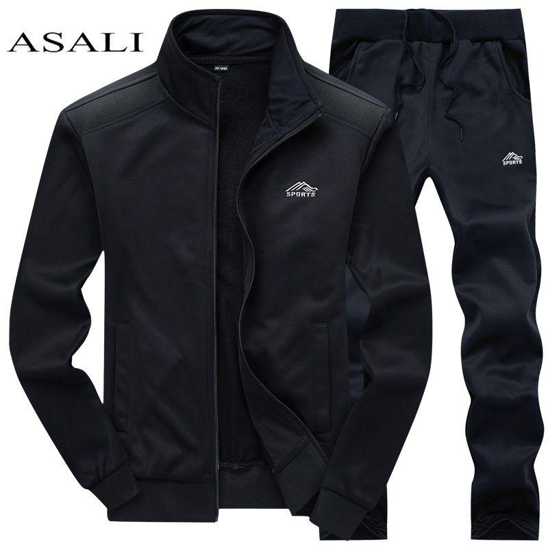 Survêtements hommes Polyester sweat sport polaire 2019 gymnases printemps veste + pantalon décontracté hommes piste costume de sport Fitness