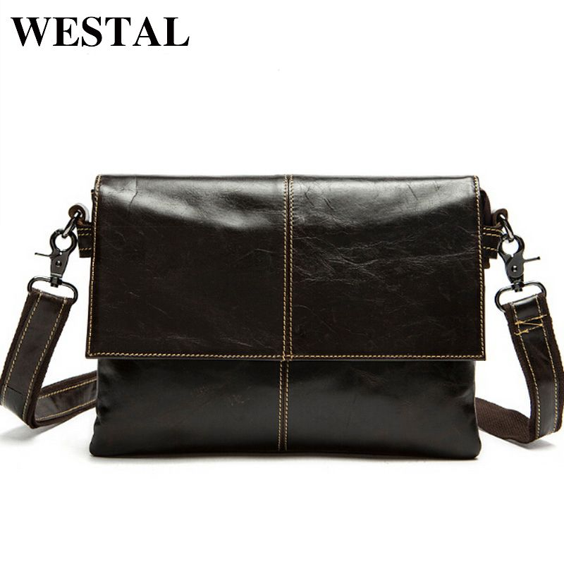 WESTAL messenger bag men's genuine leather Crossbody Bags Fashion ipad Small Flap Men Bags Men's Shoulder Bag Clutch Handbags