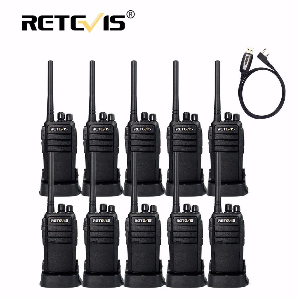 10pcs Handheld Radio Walkie Talkies Retevis RT21 2.5W 16CH UHF VOX Scrambler Portable 2 Way Radios For Restaurant Hotel Hunting