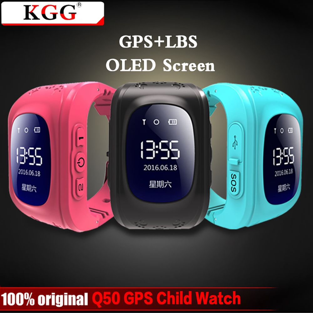 KGG Anti Lost Q50 OLED Child GPS Tracker SOS Smart Monitoring Positioning Phone Kids GPS <font><b>Baby</b></font> Watch Compatible IOS & Android