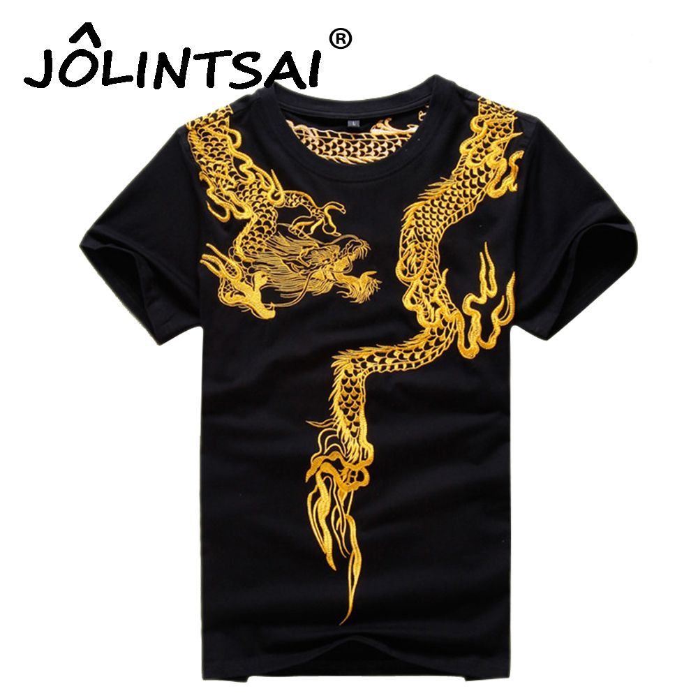 2017 Cool T Shirt Hommes Chinois Style Kung Fu Chemises Tops Or Dragon Broderie Hommes de Coton T-shirts Mâle Mince T Shirt T-shirts