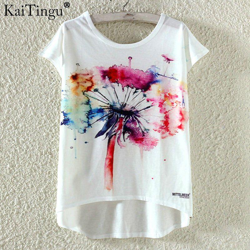 KaiTingu Mode D'été Kawaii Mignon T-shirt Harajuku Haut Bas Style chat Impression T-shirt À Manches Courtes T Shirt Femmes Tops M XL taille