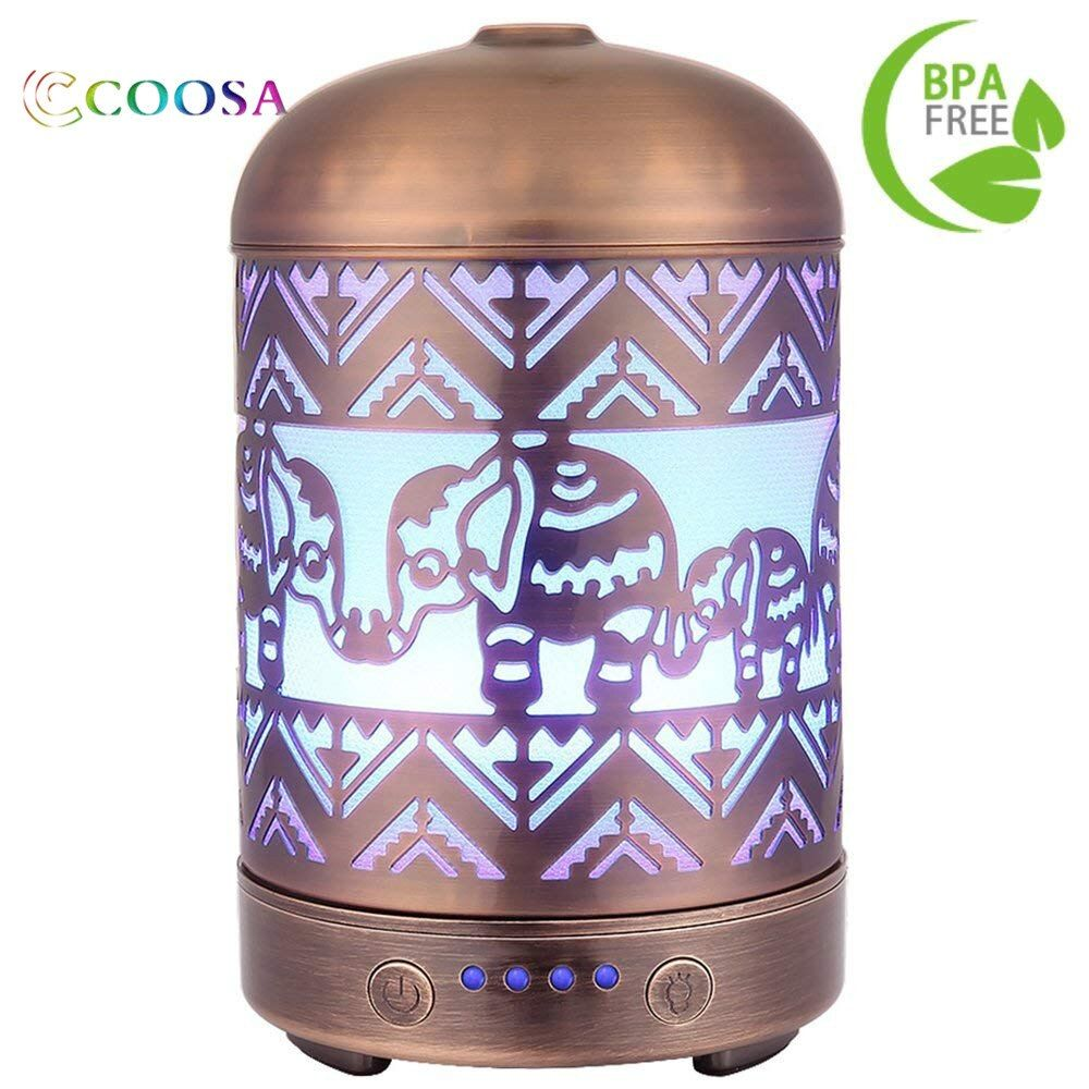 COOSA 100ML Metal Elephant Pattern 100ml Ultrasonic Aromatherapy Essential Oil Diffuser Aroma Diffuser Cool Mist Humidifier