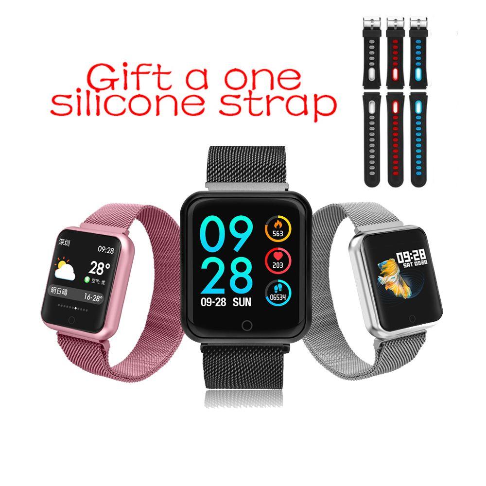 P68 montre intelligente IP67 étanche Fitness Tracker moniteur de fréquence cardiaque pression artérielle femmes hommes horloge Smartwatch pour Android IOS