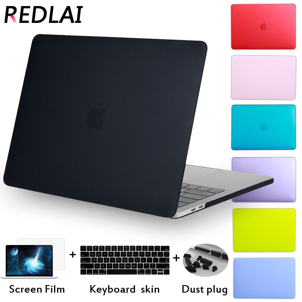 Redlai Luxury New Matte Case For <font><b>Macbook</b></font> Air 11 13 inch For Mac Book Pro 13 15 Retina Touch Bar with Keyboard cover + Dust plug