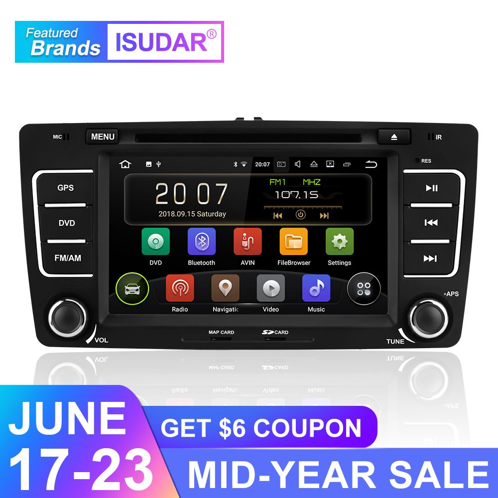 Isudar Android 9 Autoradio Für SKODA/Octavia 2009-2013 Auto Multimedia-player 2 Din DVD GPS 4 Core RAM 2 GB ROM 16 GB FM Radio