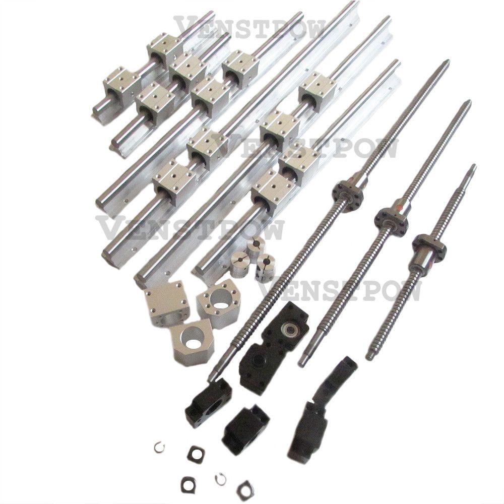 6pcs SBR16 linear guideway Rail+3pcs SFU1204 SFU1605 ballscrews RM1605 balls screw RM1204+3sets BK12BF12/BK10BF10+3pcs coupling