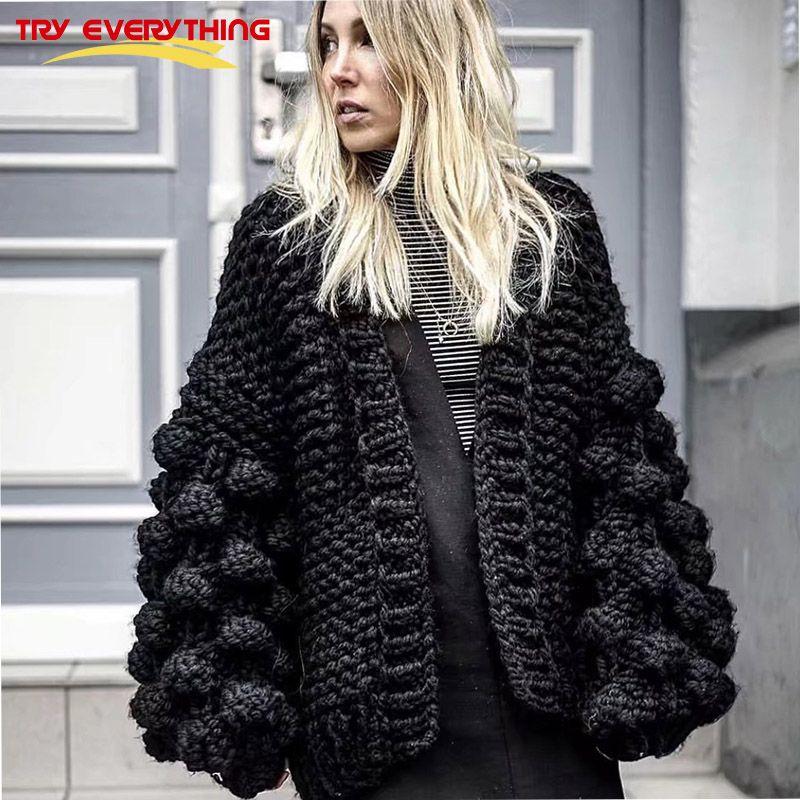 Versuchen Alles 2018 Frauen Winter Pullover Strickjacke Schwarz Handgestrickte Lange Hülsenwolljacke Weibliche Starke Pull Femme Hiver