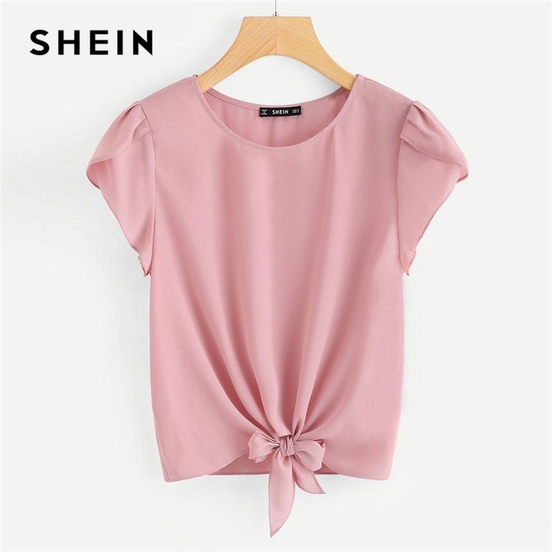 SHEIN Pink Petal Sleeve Knot Front Top Women Round Neck Short Sleeve Casual Blouse 2018 Summer New Plain Clothing Blouse
