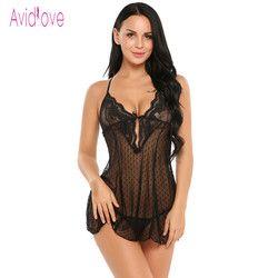 Avidlove sexy lingerie Erotic Hot bodydoll vestido atractivo de las mujeres ropa de dormir opacidad Encaje noche erotica adulto Juguetes sexuales