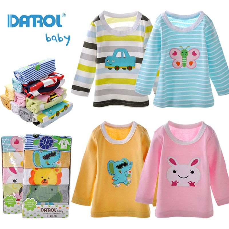 5 Pieces / Lot Baby Boys Girls T Shirt DANROL Cartoon Tee Embroidered Baby Long Sleeve Tops Cotton Infant Kids Baby T-Shirt V54