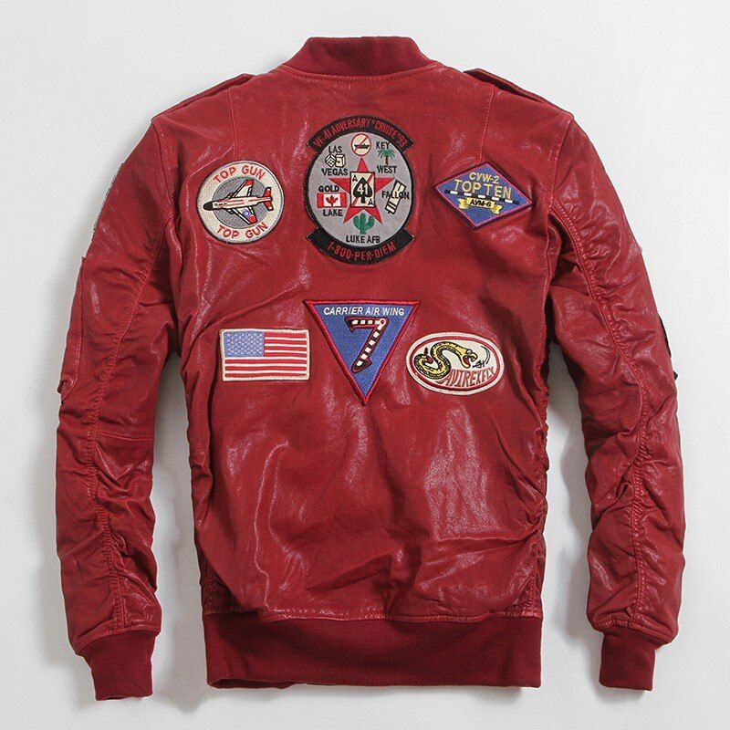 2019 Red Men Genuine Pilot Leather Jacket Plus Size XXXXXXL Slim Fit Sheepskin Short Military Flight Leather Coat FREE SHIPPING