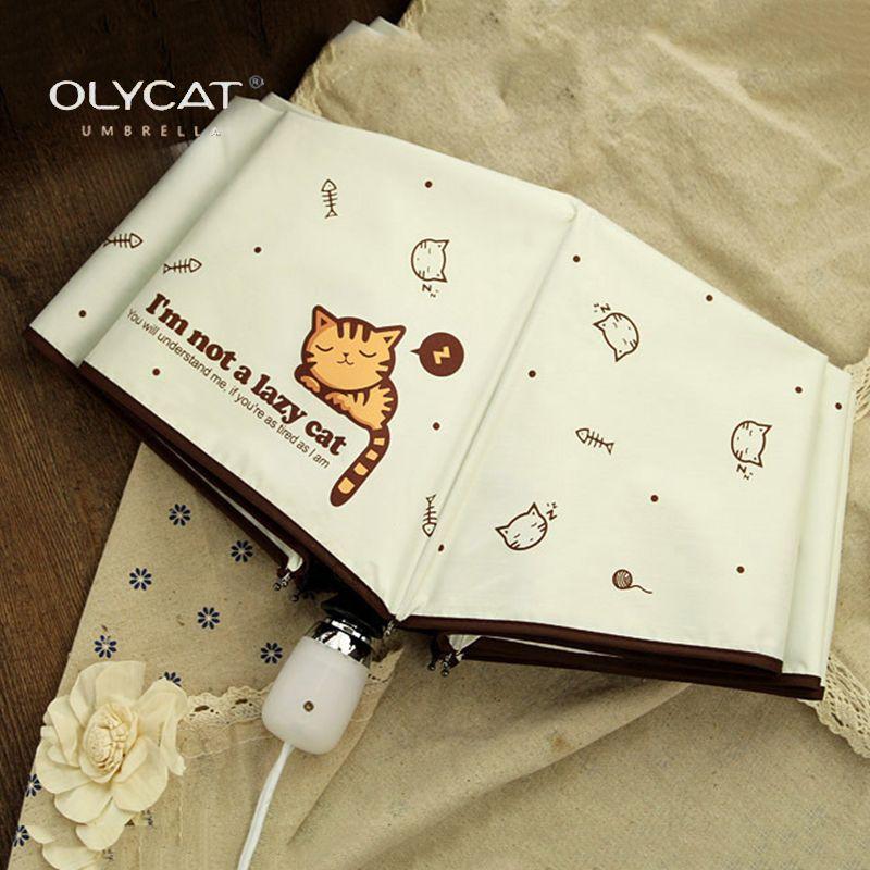 OLYCAT Automatique Parapluie Pluie Femmes Belle Chat Pliage Parapluies Coupe-Vent Noir Revêtement Anti UV Parasol Parapluie Fille de Femmes