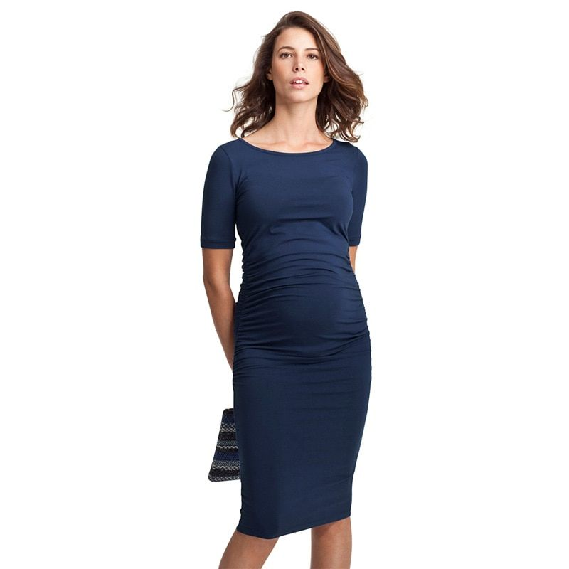 Happy Maternity Dresses O-Neck Pregnancy Clothes for Pregnant Women Knee-Length Office Lady Business Dress Costume