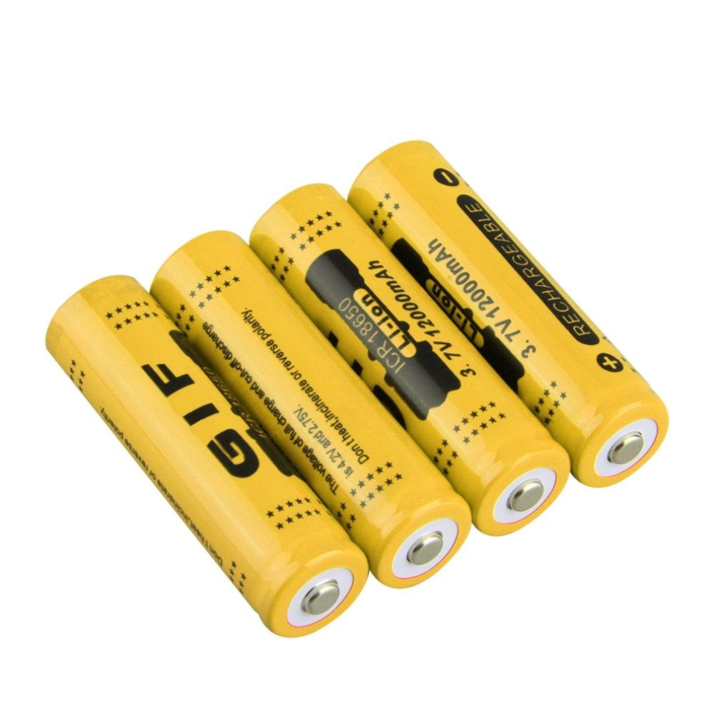 2 Colors 18650 3.7V 4pcs Rechargeable Li-ion Battery 12000mah for LED Torch Flashlight Red Shell Low Reoccurring Operation