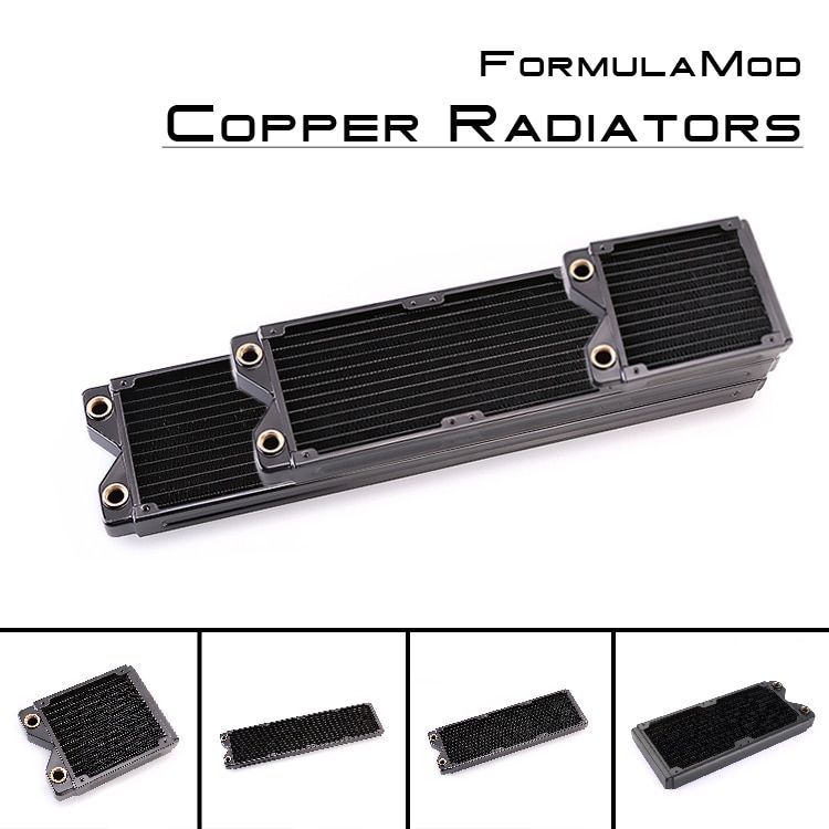 FormulaMod Fm-CoRa-BK, Copper Radiators, Black 25mm Thickness 120/240/360/480mm Radiators For 120mm Fans, Water Cooling Radiator