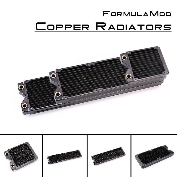 FormulaMod Fm-cora-bk, radiateurs à une rangée de cuivre noir 120/240/360/480mm, épaisseur 29mm, adapté aux ventilateurs 120*120mm