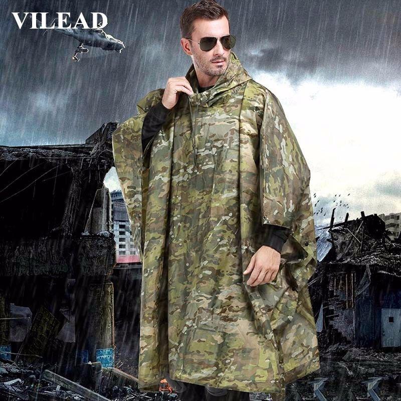 VILEAD Polyester Impermeable Outdoor Rain Coat Waterproof Raincoat Women Men Cloak Durable Fishing Poncho Camping Tour Rain <font><b>Gear</b></font>