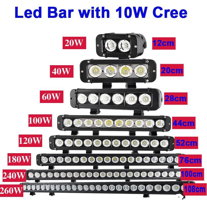 Singlr Reihe Led Licht Bar Gerade Fahren Led Bar Arbeits 20 watt 40 watt 60 watt 100 w 120 watt 180 watt 240 watt 260 watt Offroad Spot Off Road Flood Combo