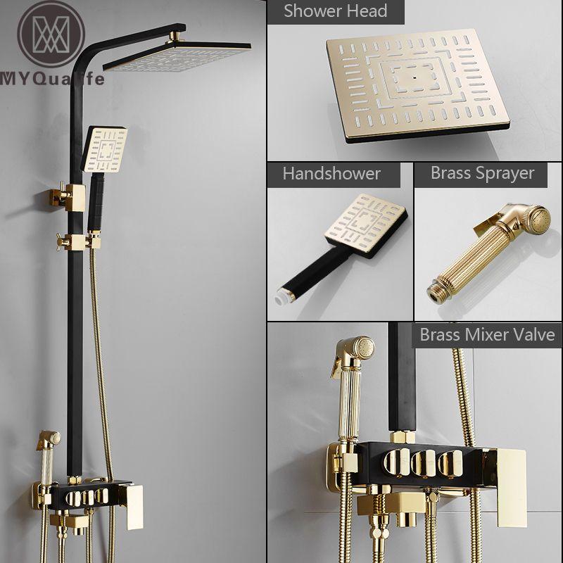 Regen Dusche Wasserhahn Goldene Schwarz Bad Dusche Set Mit Bidet Sprayer Mischbatterie Wand Montieren Dusche Heiß Kalt Wasserhahn