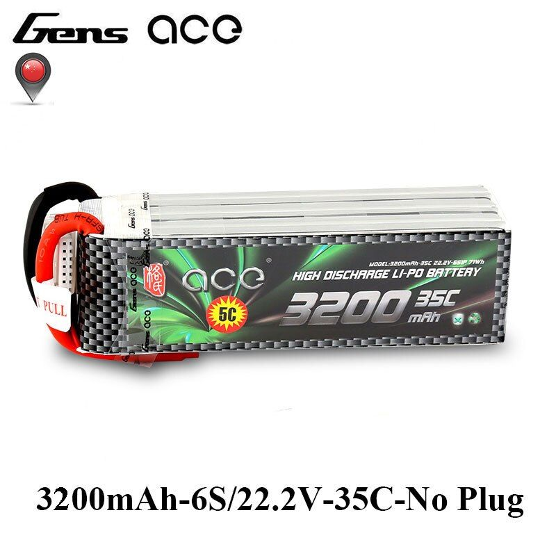 Gens ace 3200mAh 6S 22.2V 35C-70C Lipo Battery for 500 Size Helicopter Fixed Wings Quadaptor RC Airplane Accessories