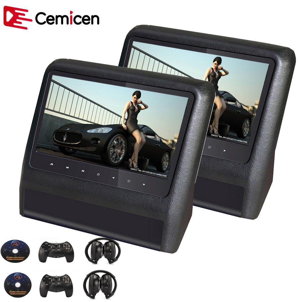 Cemicen 2PCS 9 Inch Car Headrest Monitor Video DVD Player with USB/SD LCD Screen Backseat Displayer IR/FM Transmitter Remote