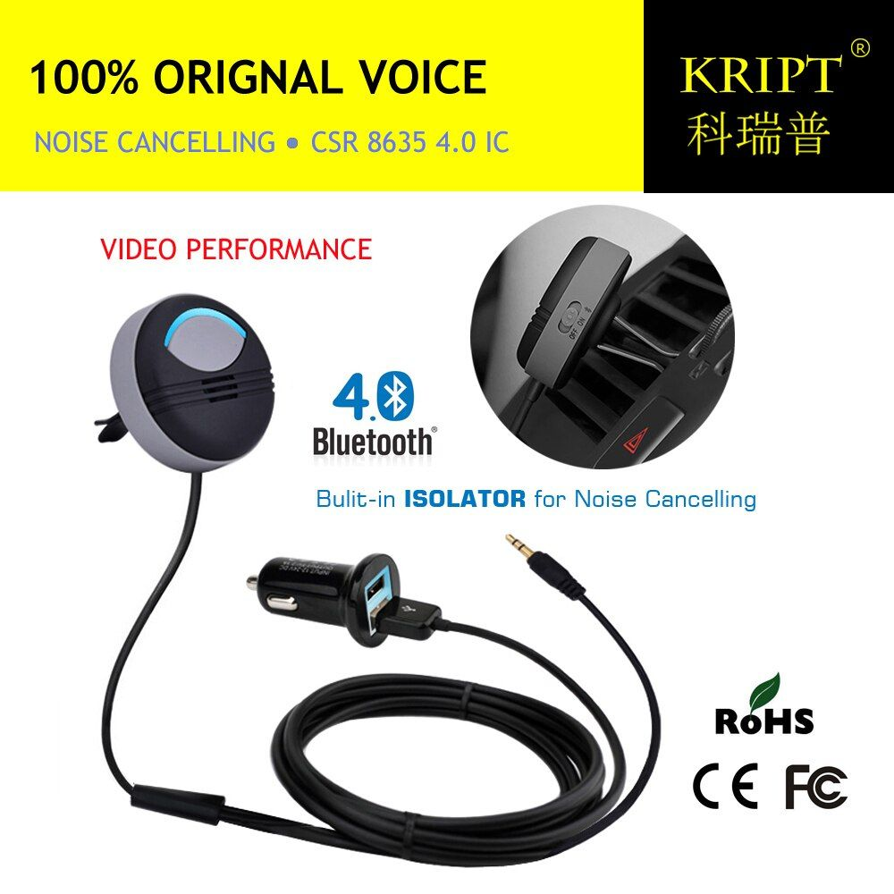 <font><b>Noise</b></font> Cancelling AUX Handsfree Bluetooth Car Kit Built in Isolated IC with FCC CE RoHS