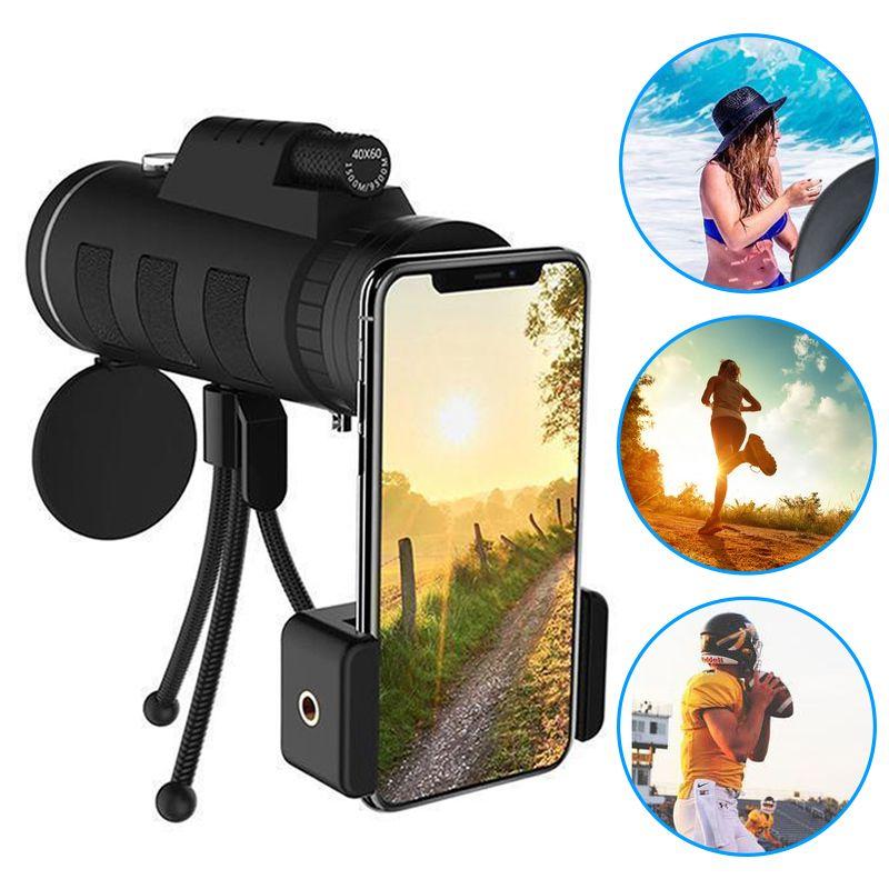 Lentille pour téléphone 40X60 Zoom pour Smartphone Monoculaire Télescope Caméra Portée Camping Randonnée Pêche avec Boussole Téléphone Clip trépied