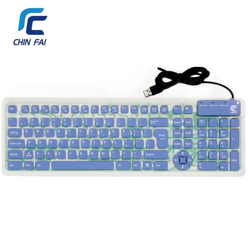 Russian/English 107 Keys Silent Silicone <font><b>Flexible</b></font> Foldable Keyboard Waterproof USB Slim Portable Keyboard for Tablet PC Phone