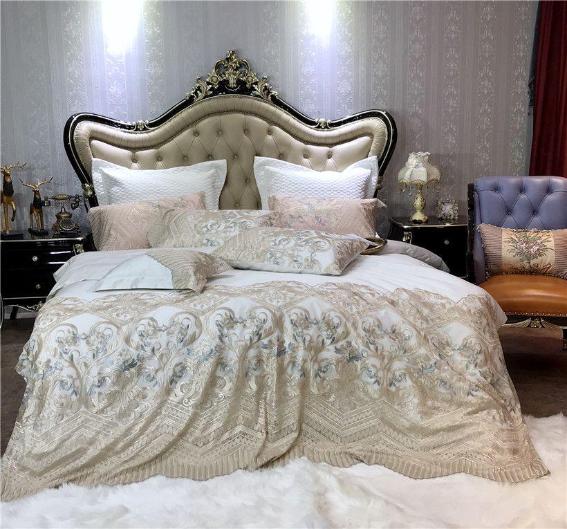 Shabby Chic Spitze Prinzessin Bettwäsche set Luxus Ägyptischer Baumwolle Bettdecke abdeckung mit bettlaken Kissen shams 4/7-Stück König königin größe