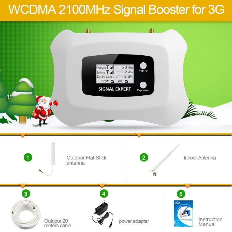 Лучшая цена! новые обновления интеллектуального 2100 мГц для 3G Мобильный усилитель сигнала усилитель мини 3G повторитель Комплект с ЖК-диспле...