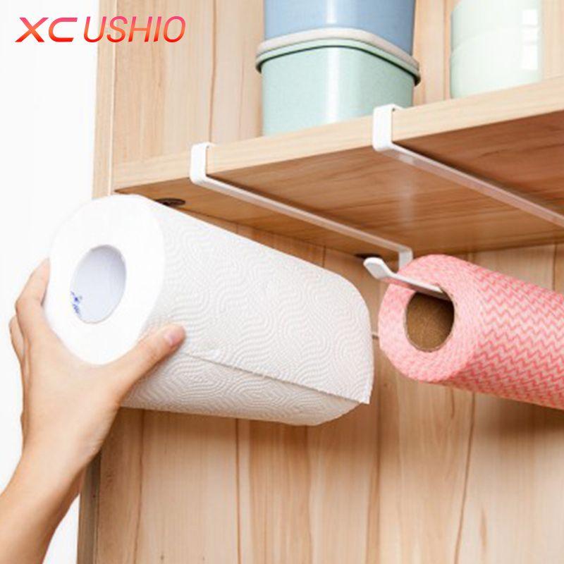 Kitchen Roll Paper Holder Bathroom Towel Rack Toilet Paper Rack Cupboard Door Paper Hanging Shelf Storage Holder