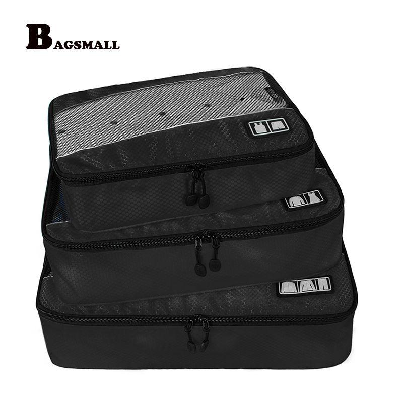 BAGSMALL Marke 3 Teile/satz Verpackung Würfel Atmungsaktive Kleidung Veranstalter Reisen Gepäck Taschen Für Hemd Hosen Bh Koffer Tasche
