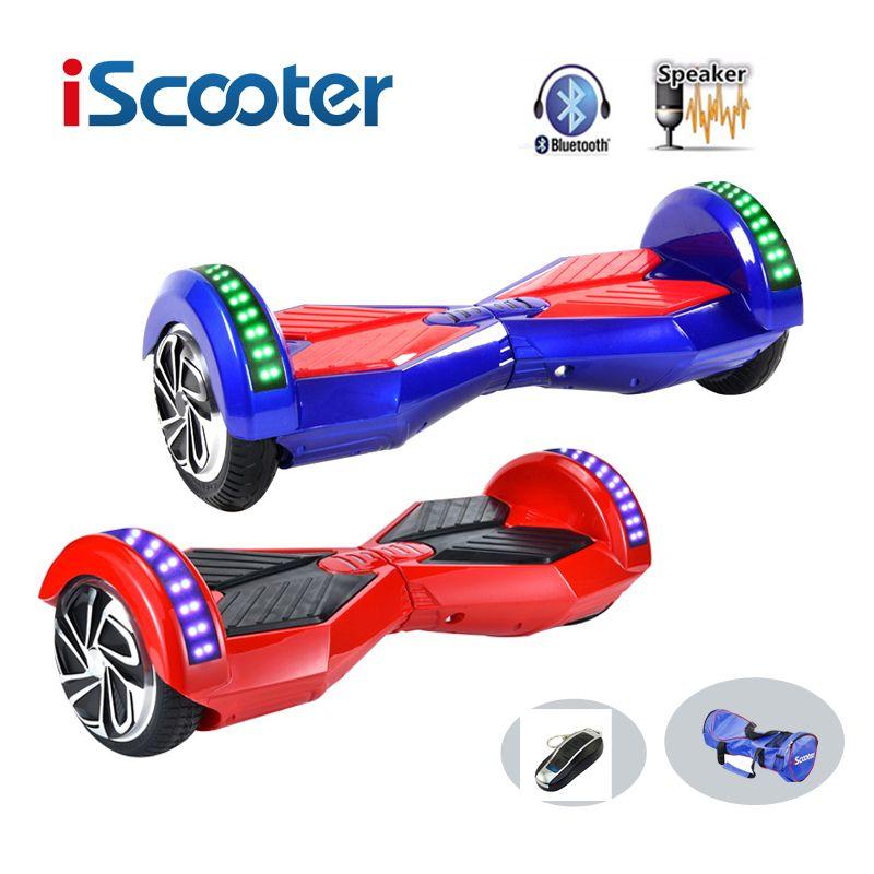 Neue iscooter hoverboard 8 zoll 2 rad selbstausgleich scooterssmart elektroroller balance schwebebrett mit led bluetooth