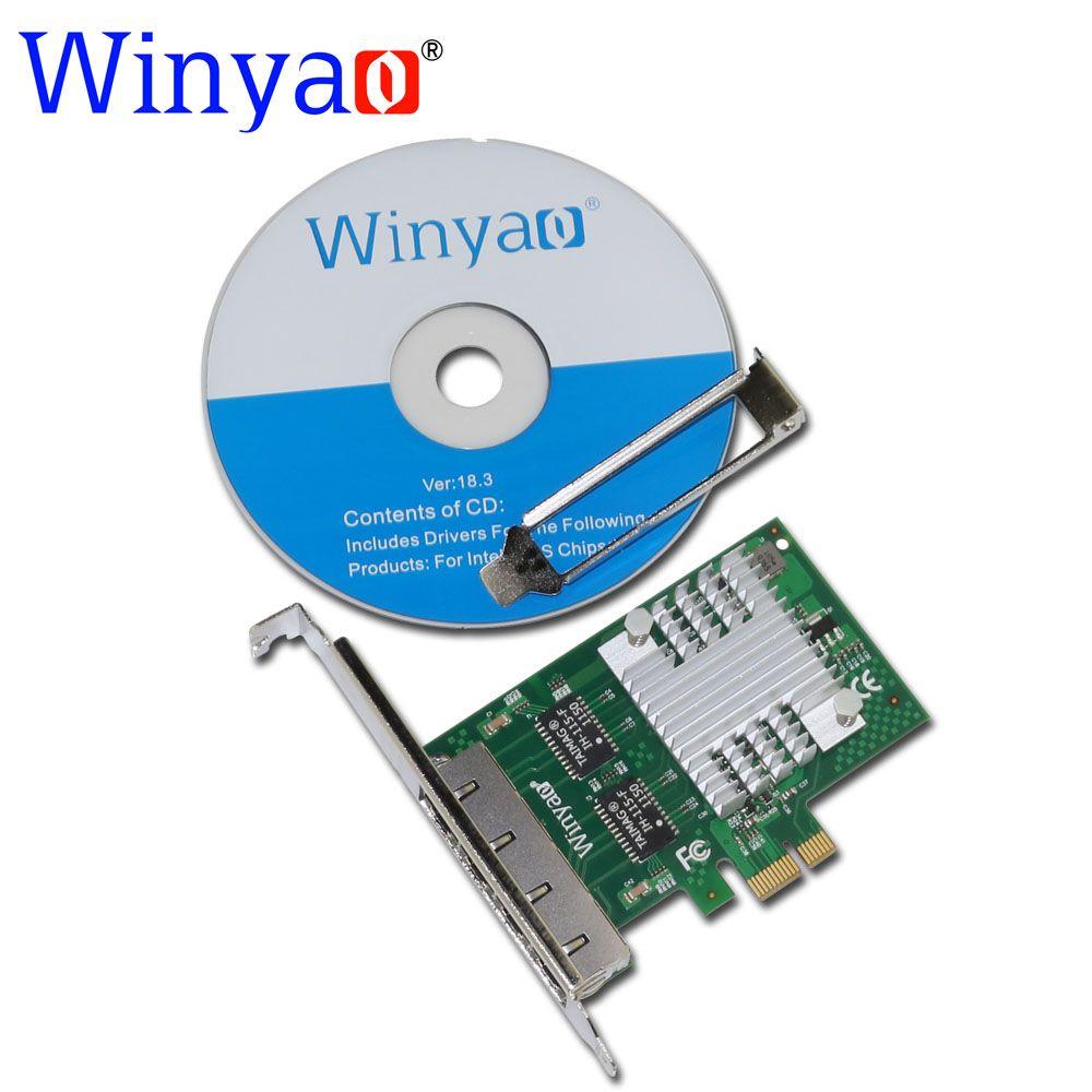 Winyao E350T4 PCI-E X1 Quad Port 10/100/1000 Mbps Gigabit Ethernet carte réseau serveur adaptateur LAN I350-T4 NIC
