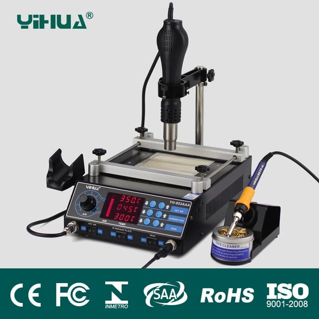 YIHUA 853AAA 650W BGA Rework Station With Adjustable Hot Air Bracket High Power Rework Station