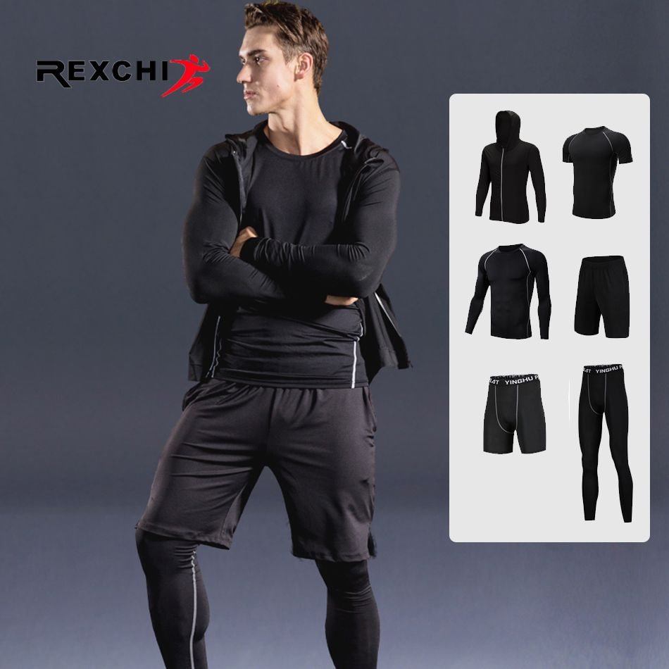 6 Pcs/Set Men Sports Suit Compression Underwear Outdoor Running Jogging Clothes T Shirt Pants Gym Fitness Workout Tights Costume