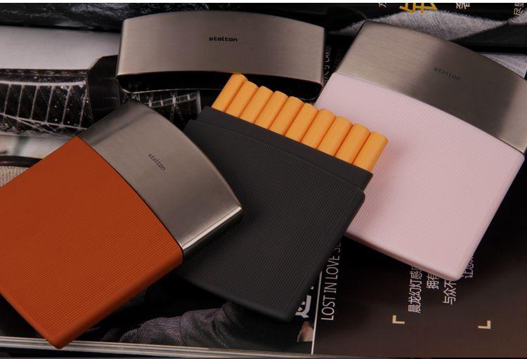 Nouveau 1 pcs de Stelton hommes d'affaires étui à cigarettes Noir en acier inoxydable mince cigarette box holder 10 cigarettes en gros